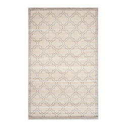 Safavieh - Roberto Indoor/Outdoor Rug, Ivory / Light Grey 8' X 10' - Coordinate indoor and outdoor living spaces with fashion-right Amherst all-weather rugs by Safavieh.  Power loomed of long-wearing polypropylene, beautiful cut pile Amherst rugs are made to stand up to tough outdoor conditions, but designed with the aesthetics of indoor rugs.  Use these family-friendly geometric designs on patios, in kitchens, busy family rooms and other high traffic rooms.