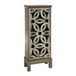 iMax - iMax Lorella Mirror Front Cabinet X-75278 - Inspired by the New York Central Park bridge, the elegant antiqued mirror is crafted in a continuous elliptical pattern and the open face is reminiscent of art deco styling.