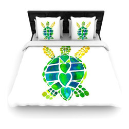 "Kess InHouse - Catherine Holcombe ""Turtle Love"" Green Teal Fleece Duvet Cover (King, 104"" x 88"" - You can curate your bedroom and turn your down comforter, UP! You're about to dream and WAKE in color with this uber stylish focal point of your bedroom with this duvet cover! Crafted at the click of your mouse, this duvet cover is not only personal and inspiring but super soft. Created out of microfiber material that is delectable, our duvets are ultra comfortable and beyond soft. Get up on the right side of the bed, or the left, this duvet cover will look good from every angle."