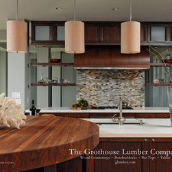 """Grothouse Walnut Butcherblock Countertop Tabletop - Grothouse Butcherblock Countertop 6"""" Walnut with Sapwood Solid Wood Tabletop in brown color with a 1/4"""" Roundover edge profile and a Food Grade Oil Finish. Special feature is a Custom Table. Designed by Jennifer Gilmer Kitchen & Bath Ltd. Photography Courtesy of Grothouse Lumber Co."""