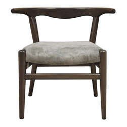"""Noir - Noir Patsy Chair Pale - The Noir Patsy chair pairs sinuous lines with sleek legs for a seat as cool as it is contemporary. Between its retro frame and luxe cushion in gray suede, this furnishing lends living rooms a taste of mid-century modern panache. 29""""W x 25""""D x 29""""H; Mahogany; Pale finish; Gray suede leather"""
