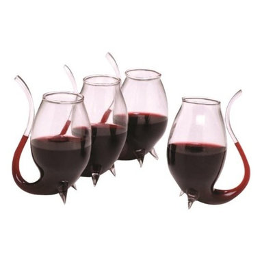 Port Sippers - Set of 4 Wine Glasses - Give Port flavor a helping hand. Uniquely designed so your hand warms the spirits as you sip through the stem enhancing the flavor of ports and liqueurs. Crafted of durable mouth-blown lead-free glass. Recommend to hand wash. Size: 3-1/4'H 4 oz.