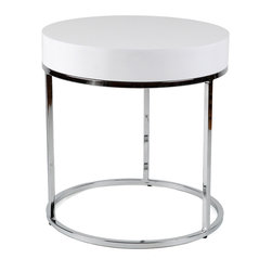 None - Round Chrome/ White Side Table - Complete your home decor with this modern side table. Constructed with a chrome and white finish,this contemporary table would be sure to uplift any room.