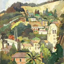 UC BERKELEY HILLS in 1936 Watercolor Painting, XLarge - 20 x 26 inches
