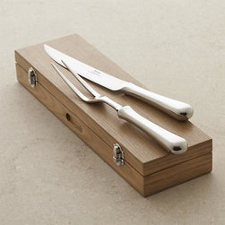 Caesna 2-Piece Carving Set - Classically designed carving set with attractive, bright mirror finish compliments any table setting. Knife and long-tined fork are well balanced and comfortable in hand and come packaged in a handsome wood storage box.