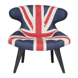 Curvy Jack Lounge Chair - Even in the colonies, you can rock impeccable Union Jack accessories like this hyper-cool armchair. With the familiar bold stripes printed on dark denim, this chair completes the statement with its unusual shape.