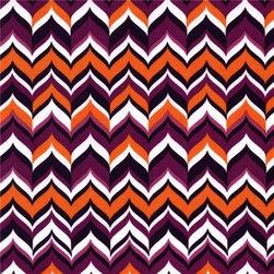 zig zag Michael Miller fabric plum Feathering Rustique - zig zag fabric by Emily Herrick with curvy pink-orange pattern