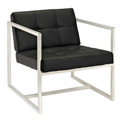 Hover Lounge Chair - Embrace mid-century elements with this welcoming reception seating chair. Hover is a modern chair, but not for the typical reasons. Its padded vinyl buttoned seat and back, and geometric stainless steel frame, truly develop space and form in an innovative way. Hover is perfect both for those offices looking to impress new clients, and for anyone who ever dreamed of stationary flight.