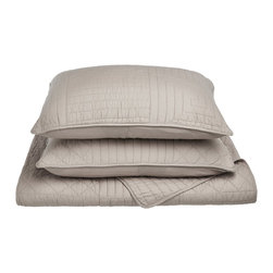 Williams Quilt Set - King - Grey - The Williams Quilt Set features a geometric lines pattern and is available in four colors. This set is made of 100% cotton and includes (1) Quilt: 106x92 and (2) Pillowshams: 20x36 each.