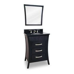 "Reeded Drawer Vanity Set - This set consists of 26"" wide solid wood vanity with Asian inspired reed detail and matching hardware, preassembled granite top, and matching beveled glass wood framed mirror. Vanity is narrow enough to fit in smaller spaces but features three fully working drawers for ample storage. Vanity comes preassembled with a 2.5cm black granite top with 4"" tall backsplash, 15"" x 12"" bowl, and cut for 8"" faucet spread."