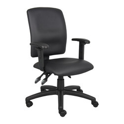 Boss Chairs - Boss Chairs Boss Multi-Function LeatherPlus Task Chair with Adjustable Arms - Upholstered in black Leather plus. Back angle lock allows the back to lock throughout the angle range for perfect back support. Seat tilt lock allows the seat to lock throughout the tilt range. Pneumatic gas lift seat height adjustment. Nylon base. Hooded double wheel casters. Adjustable arms.