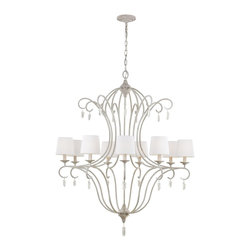 Murray Feiss - Murray Feiss Caprice Transitional Chandelier X-WKHC9/4392F - The Caprice Collection reflects the look of casual, coastal design starting with its Chalk Wash finish. This soft look is complemented by the relaxed, Belgium linen shades and the Selenite rough-cut crystals (which are removable) which add to the nature-inspired design. Reminiscent of the shoreline, the delicate arms represent waves washing ashore and the crown on the chandeliers emulates a setting sun. Natural crystals included.