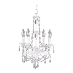 Chandeliers - 4 lights beautiful crystal chandelier in white finish . each bulb is 40W candelabra based clear bulbs. Nice addition to a small dining, dinette or a bedroom.