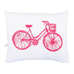 "artgoodies - Bike Squillow Pillow - A cute accent pillow for your couch, chair, or bed!  An original hand carved block print has been hand printed on 100% cotton, sewn together with coordinating vintage fabric, and filled with poly-fil. Measures 10.5"" wide x 8.5"" tall."