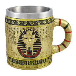 Zeckos - Egyptian Pharaoh Golden Coffee Mug 12 oz. - Greet the day with this golden mug that holds 12 fluid ounces of coffee, tea, or hot chocolate. It features an Egyptian pharaoh and hieroglyphics around the cup, with a decorative handle. The stainless steel liner helps keep your drink cool and is easy to clean. The mug measures 4 1/4 inches tall and is 3 1/4 inches in diameter. It is made of cold cast resin, hand painted, and should be washed by hand.