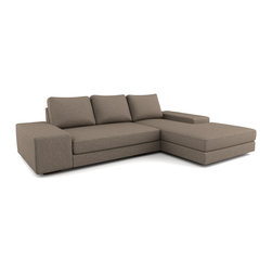 Viesso - Strata Chaise Sectional (Quickship) - Seen here is the Strata Sectional, part of our most popular modern sectional collection. This is the quickship version, where weve limited the options to make the piece faster to build and cheaper to sell. It has all the high quality and great style of the Strata line, bringing a very loungy and stylish design to your room. The wide arms provide a great space to sit on, or even use as a table. To customize this sectional, please click here. To order free fabric samples and see larger swatches, please click here.