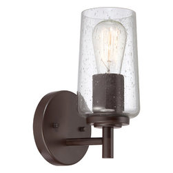 Quoizel - Edison Western Bronze One Light Bath Fixture - - Bulb Included  - Cord Length: 6 Inches  - Glass/Shade: Seedy Glass Shade Quoizel - EDS8601WT