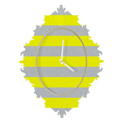 DENY Designs - Holli Zollinger Bright Stripe Baroque Clock - it's about time to check out the baroque clock collection! With a sleek mix of baltic birch ply trim that's unique to each piece and a glossy aluminum face, this baroque clock is gonna turn up the fancy on that plain Jane wall of yours.
