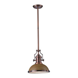 Elk Lighting - EL-66544-1 Chadwick 1-Light Pendant in Medium Oak and Antique Copper - The Chadwick Collection reflects the beauty of hand-turned craftsmanship inspired by early 20th century lighting and antiques that have surpassed the test of time. This Robust Collection features detailing appropriate for classic or transitional decors. Finishes include polished nickel, satin nickel, antique copper and oiled bronze.�Various diffuser options, including glass, metal, and wood printed metal shades, allow for adaptability to almost any design scheme.