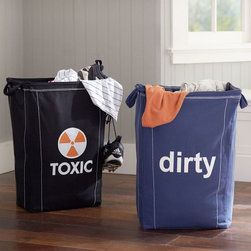 Humor Hamper - Give laundry a sense of humor with these whimsical bags from PBteen that might provide an incentive to put dirty laundry in its place.
