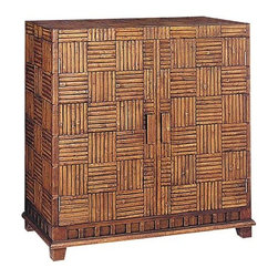 Wayborn - 2 Door Storage Cabinet - Here's a choice that will double your storage space from the one-door cabinet of the same design. This attractive storage cabinet has a bamboo crosshatch pattern on all sides and on the top. Cabinet sits on a wood pedestal with its own complementing design. 2 Doors. Bamboo on Oakwood. Textured finish with raised wood parts. 34.5 in. W x 14.5 in. D x 31.5 in. H (40 lbs.)