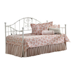 Hillsdale - Hillsdale Lucy Girls Metal Daybed in White-Daybed only - Hillsdale - Daybeds - 1517DBLH - The Hillsdale Lucy Daybed has sturdy metal construction in a white finish. It features thriving heart-shaped scrollwork and threaded spindles that perfectly complement the simple finish. This twin size daybed includes a mattress supporting suspension deck for your convenience. Extend its versatility by using it as a sofa in the home office or combining it with the optional roll-out trundle in the guest room for even more sleeping space. The concealed space saving optional roll-out trundle includes six casters for easy setup and supports a standard twin size mattress. The Lucy Daybed appears to be simple in design but it is in the details that give it an exquisite appeal and perfect for a young girls bedroom.