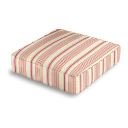 Pink & Green Stripe Box Floor Pillow - Extra seating that is so good looking you won't want to store it away.  Our Box Floor Pillow is perfect for your next coffee table dinner party, fire place snuggle session, or playroom sleepover.  We love it in this breezy linen stripe of purple, gray & ivory feels soft, serene and sophisticated.