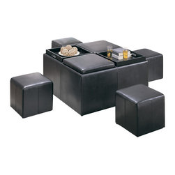 Homelegance - Homelegance Claire Storage Bench with 4 Ottomans and Trays - Rest, relax and entertain with this surprising ottoman and storage bench combination. Dark brown vinyl tops can be removed to reveal two additional square stools for your guests. The top reverses into serving trays for additional form and functionality. The contemporary style makes this combination ottoman and rectangular storage bench an inviting addition to your recreation room or family area.