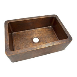 The Copper Factoy - Single Bowl Farmhouse Sink - The Copper Factory CF165AN Solid Hand Hammered Copper 32-Inch by 21-Inch Large Single Bowl Farmhouse Sink, Antique Copper
