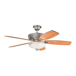 "Kichler - 52"" Monarch II Select 52"" Ceiling Fan Burnished Antique Pewter - Kichler 52"" Monarch II Select Model KL-339213BAP in Burnished Antique Pewter with Reversible Cherry/Dark Cherry Finished Blades."