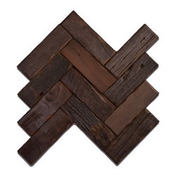 Reclaimed Wood Tile - Herringbone - GunStock - Herringbone Reclaimed Wood Tile | 2x6 Planks