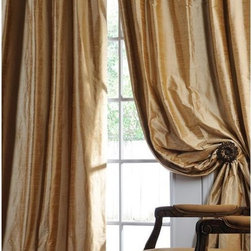 EFF - Signature Biscotti Textured Silk Curtain Panel - Add a touch of luxury and color to your home decor with this silk 108-inch curtain panel. The flannel-lined,wheat-colored curtain features rod pocket construction with raised nubby texture for a pleating effect,and is wrinkle resistant.