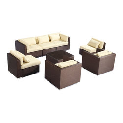 """Kardiel - Modify-It Outdoor Furniture Patio Sofa Sectional Molokai 8pc Set Wicker, Cream - Creating a modern comfortable zone for easy flowing conversations for up to 7 is the intention behind the Molokai 8-piece set design. Facing inward, sleek contemporary seating elements occupy the external corners of the grouping. A matching coffee table with tempered glass top is placed as the centerpiece.  The flexible nature of Modify-It modular allows for customized reconfiguring of the layout at will.  Molokai 8-piece set by Modify-It. The design origins are Clean European. The elements of comfort are inspired by the relaxed style of the Hawaiian Islands. The Aloha series comes in many configurations, but all feature a minimalist frame and thick, ample modern cube cushions. The back cushions are consistent in shape, not tapered in to create the lean back angle. Rather the frame itself is specifically """"lean tapered"""" allowing for a full cushion, thus a more comfortable lounging experience. The cushion stitch style utilizes smooth and clean hand tailoring, without extruding edge piping. The generously proportioned frame is hand-woven of colorfast, PE Resin wicker. The fabric is Season-Smart 100% Outdoor Polyester and resists mildew, fading and staining. The ability to modify configurations may tempt you to move the pieces around... a lot. No worries, Modify-It is manufactured with a strong but lightweight, rust proof Aluminum frame for easy handling."""