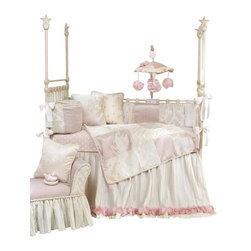 Glenna Jean - Victoria Baby Crib Bedding Set 4-Piece Set - The Victoria Baby Crib Bedding Set by Glenna Jean is made using the finest fabrics in a soothing color palette. Crinkle floor length bed skirt is trimmed with a dimensional rose made from multiple layers of twirled sheer fabric. Luxurious damask is a tone on tone velvet that is super soft to the touch. Mini polka dots in mocha and pink are embroidered on cream taffeta. A harlequin pin-tuck fabric in ivory adds texture. Silken ballet pink fabric and an additional cream velvet have a slight sheen to add subtle luster. Sheet is made from 100% cotton polka dot print. Mobile drops are bunches of cabbage roses. Quilt, bumper and pillows are trimmed with cream cord made from tiny looped ribbons.
