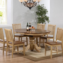 Sunset Trading - Sunset Trading Brookside Oval Dining Table with Adjustable Shelf Multicolor - SE - Shop for Dining Sets from Hayneedle.com! Enhance your dining room with the Sunset Trading Brookside Oval Dining Table with Adjustable Shelf. With its classic farmhouse design and sturdy construction this table will become a family heirloom. It features a handy built-in leaf to transform it from comfy round to generous oval which means it can accommodate more people comfortably. The traditional dining table is well-made of eco-friendly Malaysian oak and has a handsome two-tone finish. The pedestal base is finished in distressed wheat and the top comes in contrasting warm pecan. The pedestal base features classic turned details and four support legs for stability. About Sunset TradingThis product is designed and manufactured by Sunset Trading. Located in Londonderry New Hampshire Sunset Trading creates high quality furniture for bedrooms living and dining rooms. Their furniture features side roller drawer guides four corner English dovetails solids and veneers. Dining rooms feature epoxy resin constructed chairs with metal support brackets which make their chairs 100 times stronger than glued chairs. Rest assured you're making an excellent choice when you purchase a fine furniture item from Sunset Trading.