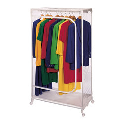 Richards Homewares - Richards Homewares Free-standing Storage Super Vinyl Wardrobe Hanger - Give yourself a little breathing room with this convenient transparent,rolling wardrobe hanger. This highly functional rack is enclosed in a zippered clear vinyl covering to protect your clothes while also featuring a breathable bottom panel.