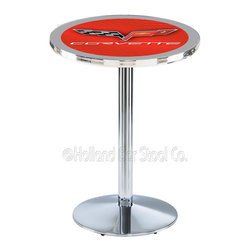 Holland Bar Stool - Holland Bar Stool L214 - Chrome Corvette - C6 Red Pub Table W/ Silver Accent - L214 - Chrome Corvette - C6 Red Pub Table W/ Silver Accent  belongs to General Motors Collection by Holland Bar Stool Made for the ultimate Corvette - C6 enthusiast, impress your buddies with this knockout from Holland Bar Stool. This L214 Corvette - C6 table with round base provides a commercial quality piece to for your Man Cave. You can't find a higher quality logo table on the market. The plating grade steel used to build the frame ensures it will withstand the abuse of the rowdiest of friends for years to come. The structure is triple chrome plated to ensure a rich, sleek, long lasting finish. If you're finishing your bar or game room, do it right with a table from Holland Bar Stool.  Pub Table (1)
