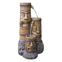 Bond - Bond Y95427 Makena Totem Water Fountain - This tribal inspired impression of a totem carving will add charm to any outdoor retreat or garden. Water tumbles down from one totem to another in this three tiered fountain, offering the visitor soothing aquatic sounds. The Makena will make a charming sentinel to your private outdoor area.