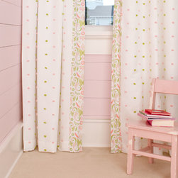 Summer Garden Hidden Tab Drapes with Vertical Trim - Set of 2 | Prices start at $132 per set | Window drape panel in Pink and Lime Puffs with coordinating side trim in Pink Butterfly.