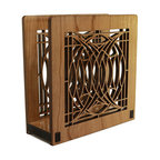 """Lightwave Laser - Frank Lloyd Wright Blossom House Napkin or Letter Holder - Perfect for dinner napkins or to hold the day's mail. The Frank Lloyd Wright design of this laser-cut wood holder in cherry finish is adapted from the patterned art glass used for the entry sidelights in the George Blossom House (Chicago, Illinois, 1892). Dimensions: 6"""" wide x 6"""" tall x 2.5"""" deep."""