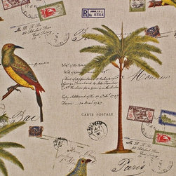 Tropical fabric documentary script bird palm tree, Sample - A tropical fabric with documentary postcards and letters, as well as palm trees and birds!