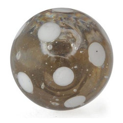 "Knobco - Polka Dotted Glass Knob, Clear knob with White Polka dots - Clear knob with White Polka dots glass knob. Unique glass knobs for your kitchen cabinets. 1.1"" in   diameter.   Includes screws for installation."