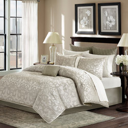 Madison Park - Madison Park Chateau 12 Piece Comforter Set - Give luxury and elegance to your bedroom with the Chateau 12 piece Collection. The comforter and sham features a light grey and off white damask scroll pattern that is woven into a polyester jacquard and reverses to a solid light grey color. The set includes a solid light grey tailored bedskirt. The Euro shams feature a solid light grey brushed microfiber fabric that is quilted with a diamond pattern. The set includes a crisp white sheet set that is made of T180 Cotton blend fabric. Two decorative pillows are included in the set. This 12 piece set will provide everything you need to complete your bed. Comforter & Sham: 100% polyester jacquard on face side, polyester microfiber 75gsm solid brushed fabric reverse, comforter with 270g/m2 poly fill; sham with over lap opening at back; Bedskirt: 100% polyester fabric drop, non woven platform; Dec Pillows: 100% polyester fabric cover with poly fill; Euro Sham: 100% polyester fabric with diamond quilting; Sheet Set: 50% cotton, 50% polyester
