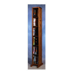 Wood Shed - 6 Row Dowel DVD Tower (Unfinished) - Finish: UnfinishedCapacity: 80 DVD's. Made from solid oak. Honey oak finish. 7.25 in. W x 6.5 in. D x 53 in. H