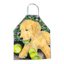 Caroline's Treasures - Golden Retriever Apron SS8759APRON - Apron, Bib Style, 27 in H x 31 in W; 100 percent  Ultra Spun Poly, White, braided nylon tie straps, sewn cloth neckband. These bib style aprons are not just for cooking - they are also great for cleaning, gardening, art projects, and other activities, too!