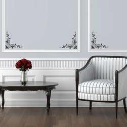 Foliate Corner Stencil - Foliate Corner Wall Stencil from Royal Design Studio Stencils. This handpainted corner detail wall stencil improves the look of chair rails, moldings and paneling on both walls and furniture in dining rooms, entry ways and living rooms.