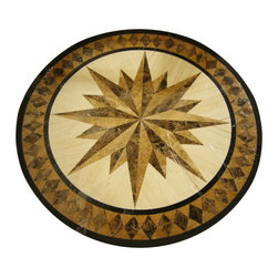 "Floor Medallions Online - 36"" Waterjet Floor Medallion - Milford - The Milford waterjet medallion, constructed of Turkish Travertine and Italian marble, posses a masculine compass design encircled by a modern diamond border."