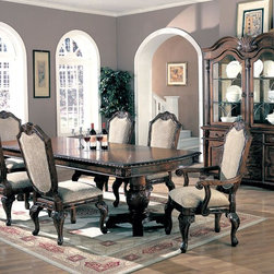 Coaster 7 PC Formal Brown Wood Pedestal Dining Set Leaf Table Chair - Create a focal point of beauty with the traditional styling of this dining table. The double pedestals and table edges have stunning, intricate detail that are sure to make a sophisticated statement in your dining room. One 24 inch leaf extends the table from 84 inches to 108 inches - perfect for dinner parties or holiday family dinners. Gather equally charming dining chairs around to complete the silhouette.