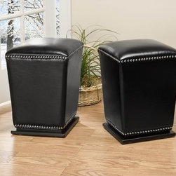 Safavieh - Safavieh Mason Storage Bicast Leather Black Ottomans (Set of 2) - Never run out of chairs for your guests with these comfortable black ottomans by Mason. Perfect for the living room,bedroom or dining room,these leather ottomans come in a set of two. Conveniently use these for putting your feet up or for sitting on.