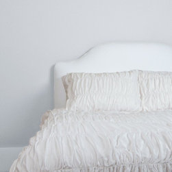 Crane & Canopy (www.craneandcanopy.com) - 300 Thread Count White Ruched Duvet Cover, Sutter White - Expressive textures evoke a cool and youthful spirit. This 300 thread count ruched duvet cover gives the bed volume and dimension.